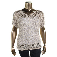 Eileen Fisher Womens Plus Knit Short Sleeves Pullover Sweater