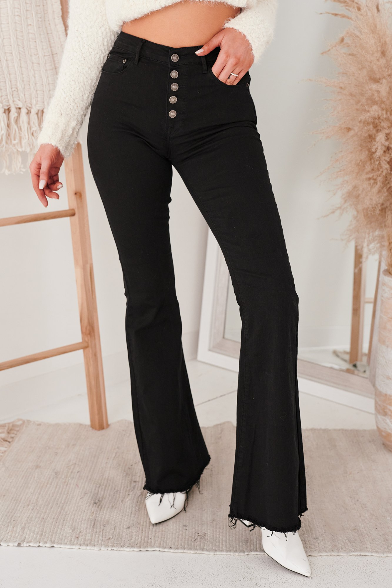 Image of Unpublished Button Down Flare Jeans (Black)