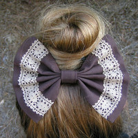 chocolate brown and lace fabric barrette for by ClipaBowBoutique