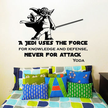 Star Wars Wall Decal Quote Yoda Quotes a Jedi Uses the Force ... Never for Attack Vinyl Sticker Decals Home Decor Mural Bedroom Window AN715