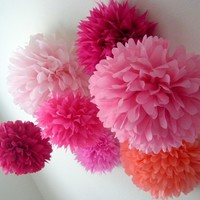 Pink, Indubitably ...10 tissue paper poms // diy // wedding decorations // birthday // party decorations // pinkalicious // princess