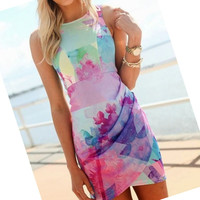 Sexy Women Girl Floral Printed Dress Slim Ball Gown Mini Short Dress