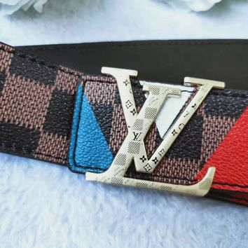 LV Louis Vuitton Newest Fashion Woman Men Smooth Buckle Belt Leather Belt