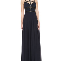 Women's Sleeveless Leather Caged Gown - Rebecca Taylor - Dark combo