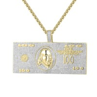100 Dollar Bill Note Money Pendant Chain Set