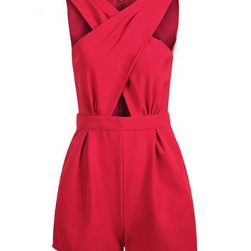 Casual Split Neck Hollow Out Romper
