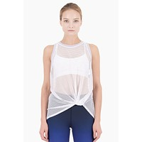 Ethan Mesh Color Block Front Knot Tank - White/Lilac Purple