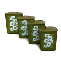 Vintage Kitchen Canisters, Daisies, Green Plastic, Nesting, Retro Kitchen, Cottage Chic Kitchen, Farmhouse, Set of Four