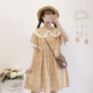 Summer New Japanese College Style Lace Side Peter Pan Collar Loose Slim Plaid Dress Lolita Style Party Dresses