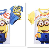 new arrive New Short Sleeve Baby Boy Clothes Despicable me Minions Shirts Children Cotton T-Shirt Kids Tops Children Tees Tshirt D267