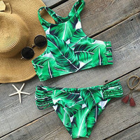 Two Pieces Swimsuit Banana Leaf Print Bikini Set Summer