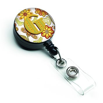 Letter G Floral Mustard and Green Retractable Badge Reel CJ2003-GBR