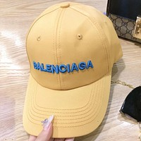 Alwayn Balenciaga Fashion New Embroidery Letter Women Men Cap Hat Yellow
