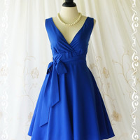 My Lady II Spring Summer Sundress Vintage Design Bright Royal Blue Party Dress Blue Bridesmaid Dress Indigo Garden Party Sundress XS-XL