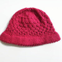Knit Baby Hat, Raspberry Pink Hat, 6-12 Months Baby Hat