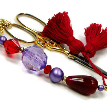 Scissor Fob, Red, Purple, Scissor Keeper, Scissor Minder, Quilting, Sewing, Cross Stitch, Beaded, Gift for Crafter, DIY Crafts,