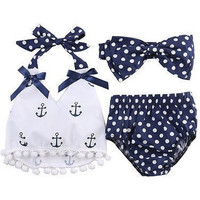 Anchor and Polka Dots Printed Infant Bodysuit Baby Romper 3pc set
