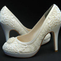 Wedding Shoes Vintage Wedding Lace , Swarovski Crystals and Pearls Women's Bridal Shoes