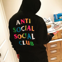 ANTI SOCIAL SOCIAL CLUB rainbow letters men and women hooded hooded sweater