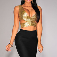 Gold Sleeveless V-Neck Cut-Out Cropped Top