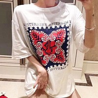Valentino Women Men Casual Print Short Sleeve Round Collar T-Shirt Top Blouse
