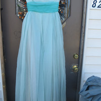 1950  2 Tone blue/ turquoise   long CHIFFON  Strapless  sequin  evening full circle  full length prom  gown