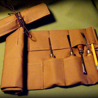 Small Canvas Tool Roll in Tan for Wood Carvers, Hobbyists, Crafters