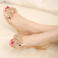 Flat Peep Toe Crystal Embellished Jelly sandals