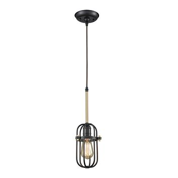 Binghamton 1-Light Mini Pendant in Bronze and Satin Brass with Metal Cage - Includes Adapter Kit