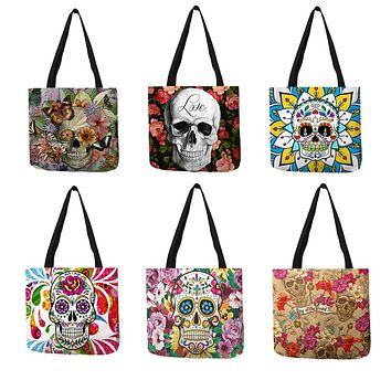 Floral Skull Tote Bags   Shopping Bags Traveling Bags
