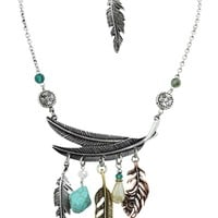 Western Feather charm Dangle Necklace and earrings Set