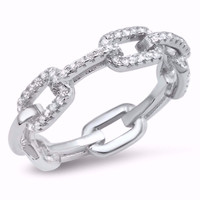 Sterling Silver CZ Simulated Diamond Chain Links Ring