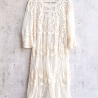 anabelle crochet midi beach cover up dress in ivory