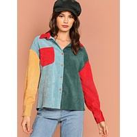 Button Up Color-Block Corduroy Utility Shirt