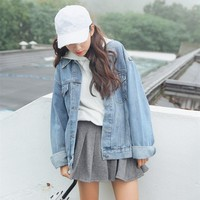 Trendy 2018 Autumn Women Long Sleeve BF Denim Jacket Harajuku Blue Loose Vintage Jean Coat  Oversize Jacket AT_94_13