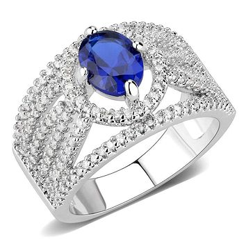 Right Hand Ring 3W1567 Rhodium Brass Ring with Synthetic in London Blue