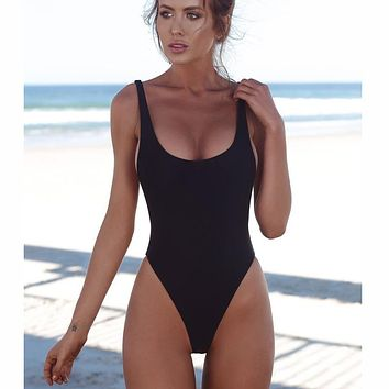 Swimsuit Solid Female Sexy Black Backless Brazilian Swimwear Women Fused Monokini Beachwear XL