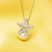 Personalized zircon star and pearl 925 sterling silver necklace, a perfect gift !