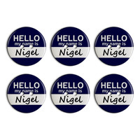 Nigel Hello My Name Is Plastic Resin Button Set of 6