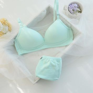 New fashion sexy womens bra and briefs set girls cotton push up underwear bras suit A B same cup 5color brassiere sets