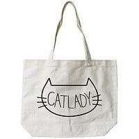 Women's Cat Lady Natural Canvas Tote Bag- 100% Cotton 18.5x14.25 inches