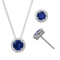 Lab-Created Sapphire & Cubic Zirconia Sterling Silver Halo Pendant Necklace & Stud Earring Set (Blue)