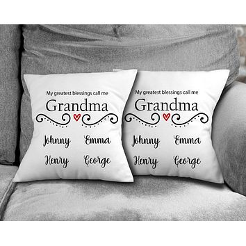 Personalized Throw Pillow   Custom Decorative Pillow   Grandma's Greatest Blessing