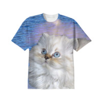 White Cat and Blue Water T-Shirt created by ErikaKaisersot | Print All Over Me