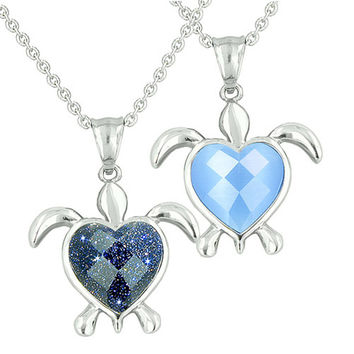 Love Couple Turtle Heart Charm Yin Yang Blue Goldstone Aqua Blue Cats Eye Pendant Necklaces