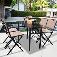 5 PCS Patio Outdoor Folding Chairs Rect Table Furniture Set Backyard Pool Side