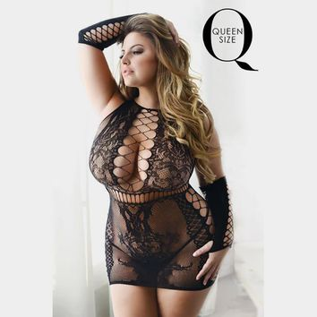 Black Queen Size Criss Cross Detail Bodystocking Dress With Sleeves