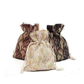 Faux Burlap Bags Lace Overlay, 4-Inch x 5-Inch, 6-Piece