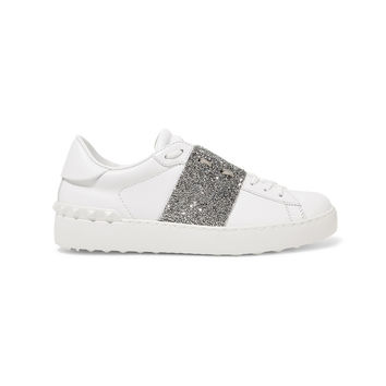 Valentino Crystal Embellished Leather Sneakers - White Rockstuds Sneakers
