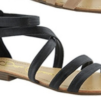 """Tevo"" Flat Strappy Gladiator Sandals - Black"